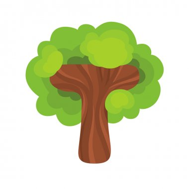 Letter T in the form of a tree.