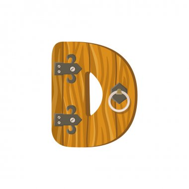 Letter D in the form of a door.