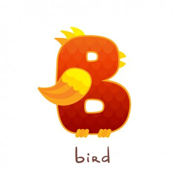 Letter B in the form of a bird.