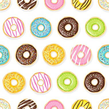 Sweet donuts on the white background.