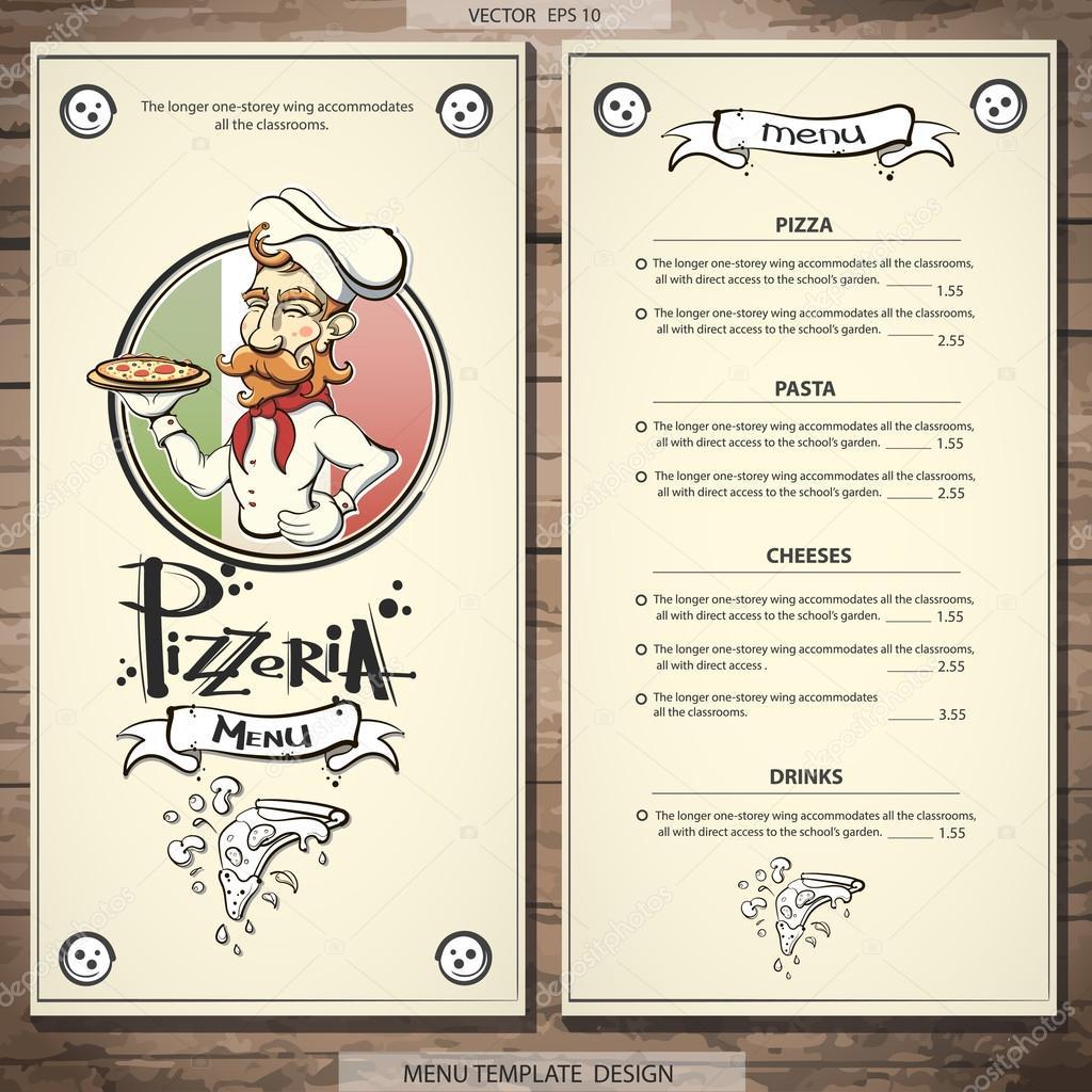 diseño del menú Pizzeria — Vector de stock © gregmaus #73103257