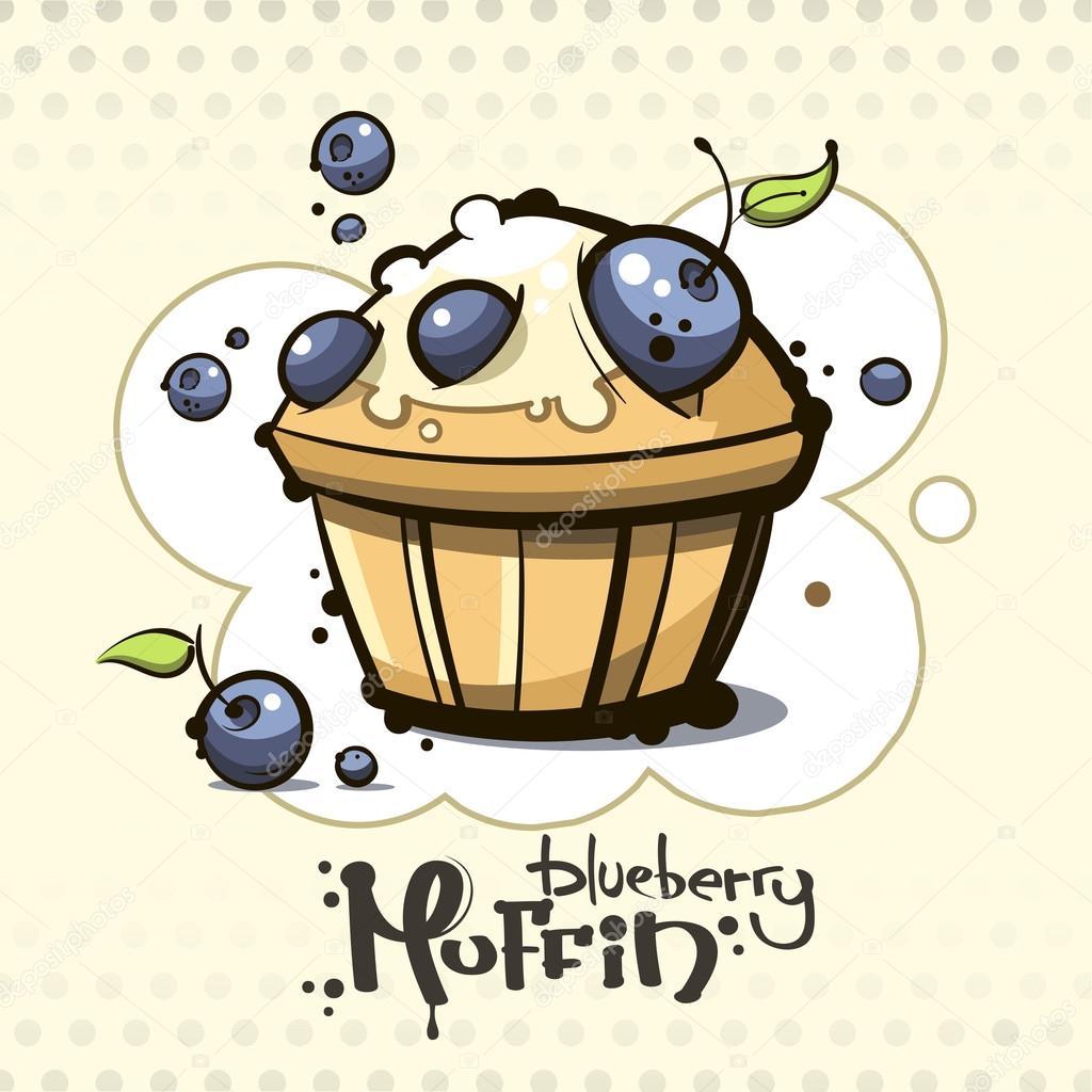 Muffin aux bleuets de dessin animé — Image vectorielle ...