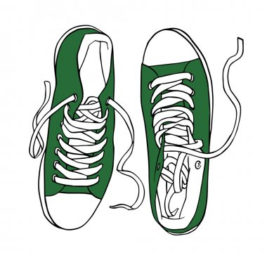 Vector green sports sneakers with white laces isolated
