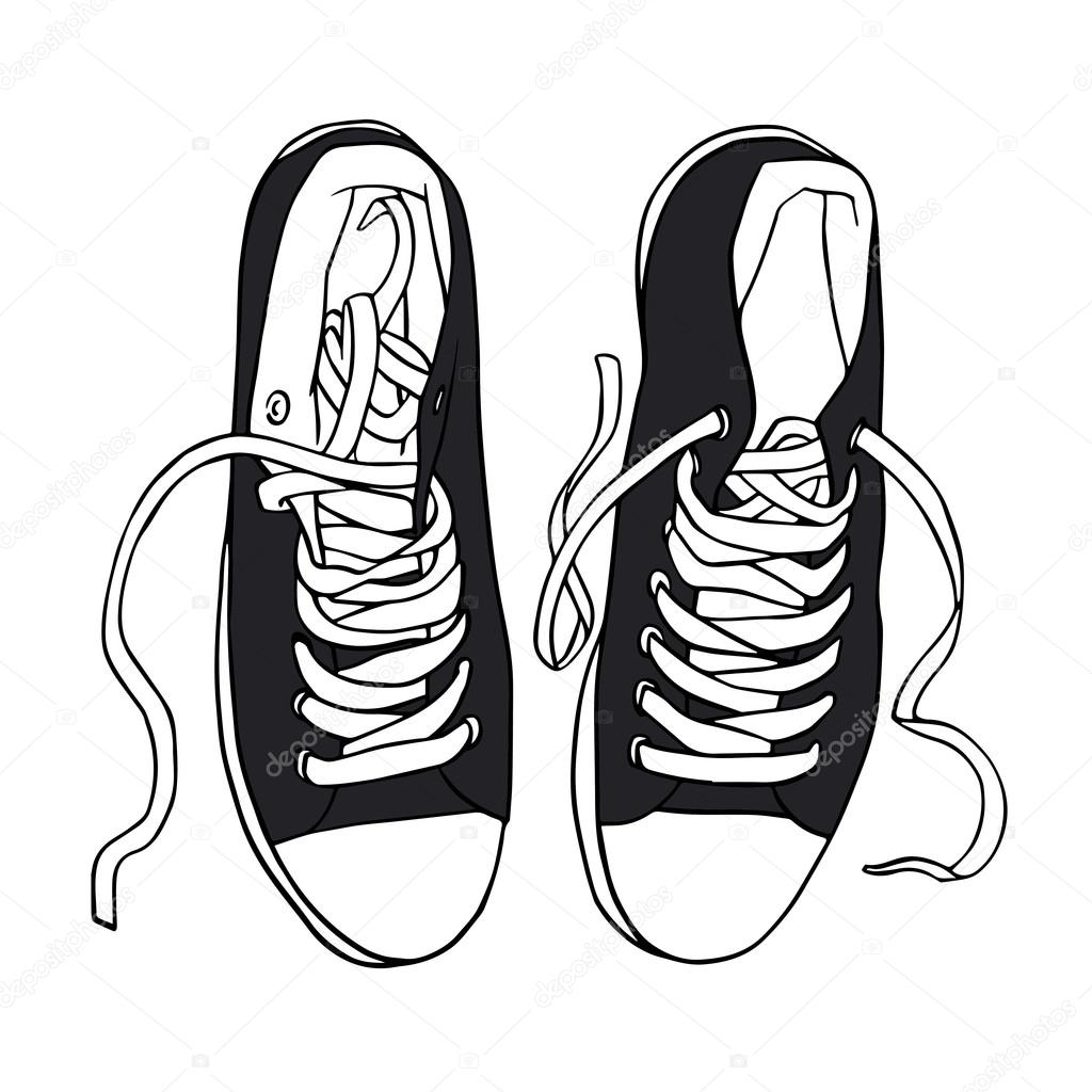 Negro de vectores de deportes zapatillas con cordones blanco ...