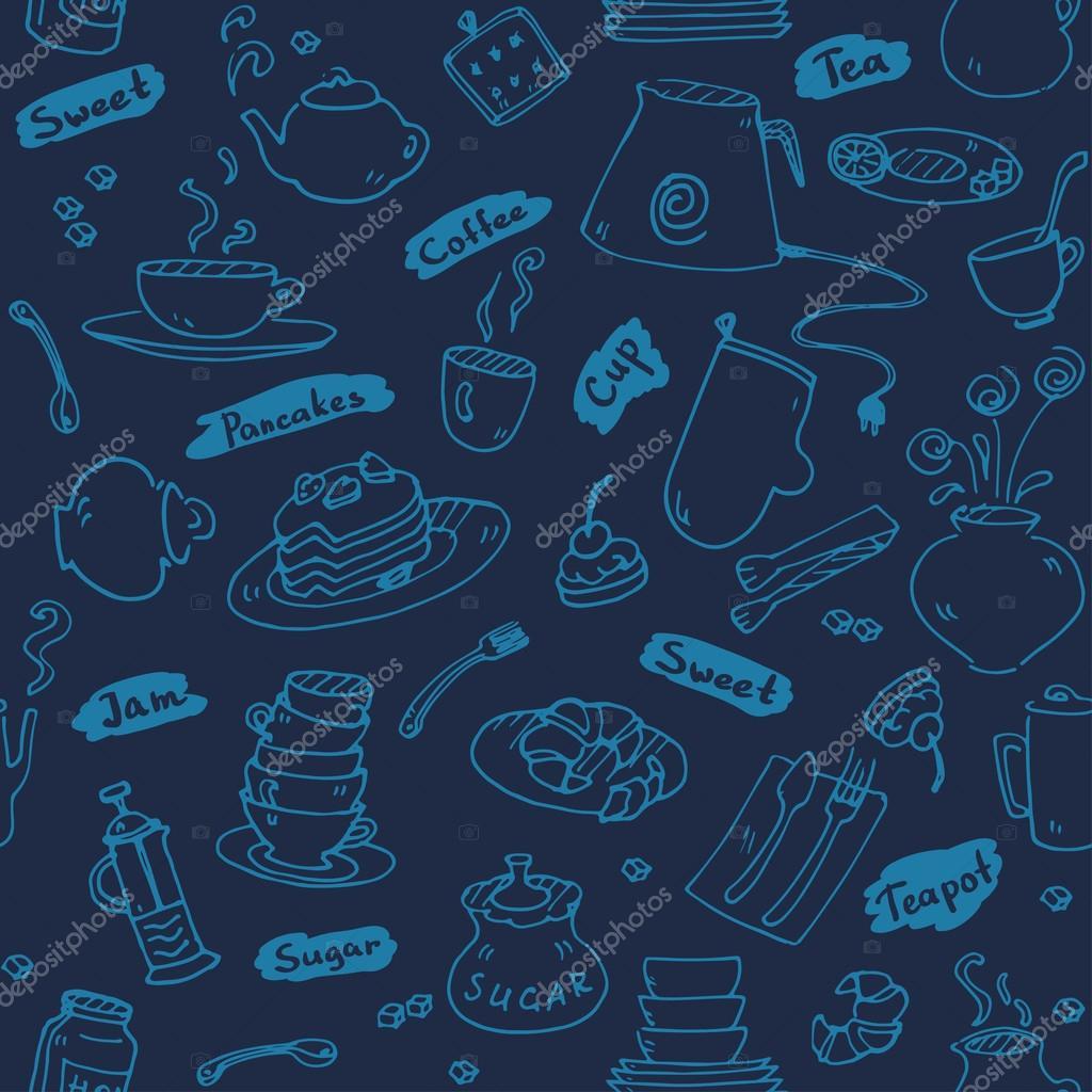 Tea Party Küche Werkzeuge Musterdesign skizzieren Sie blauen Farbe ...