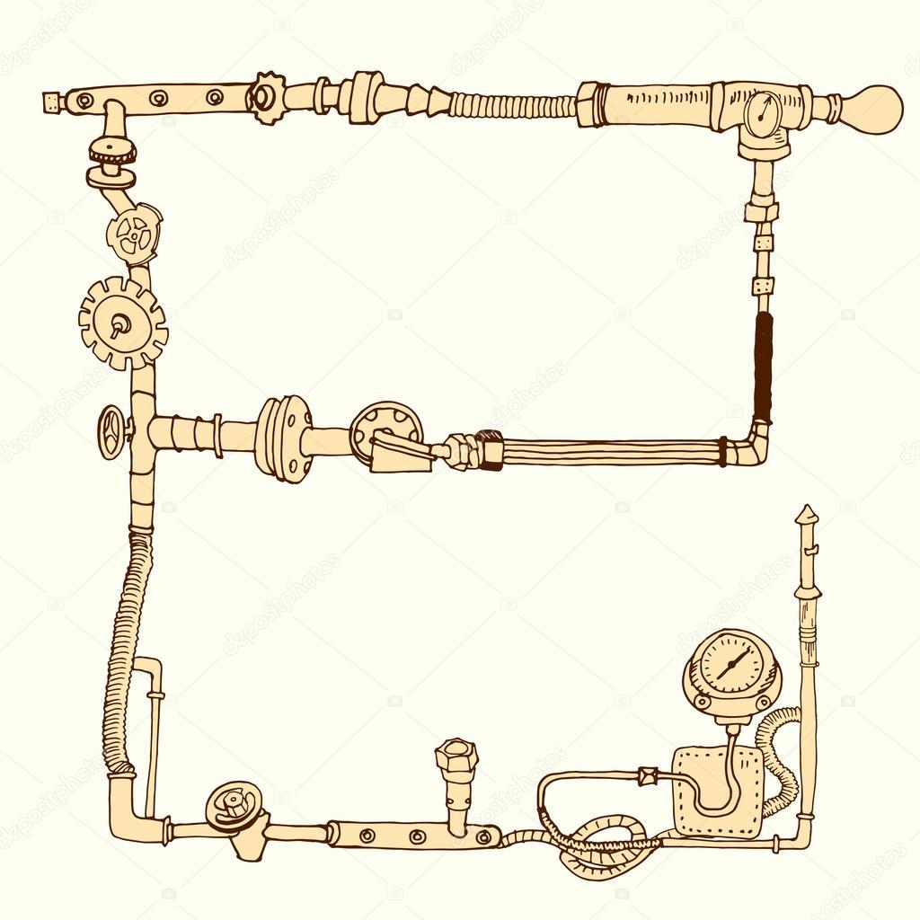 Hand-drawn frame decorative style steam punk