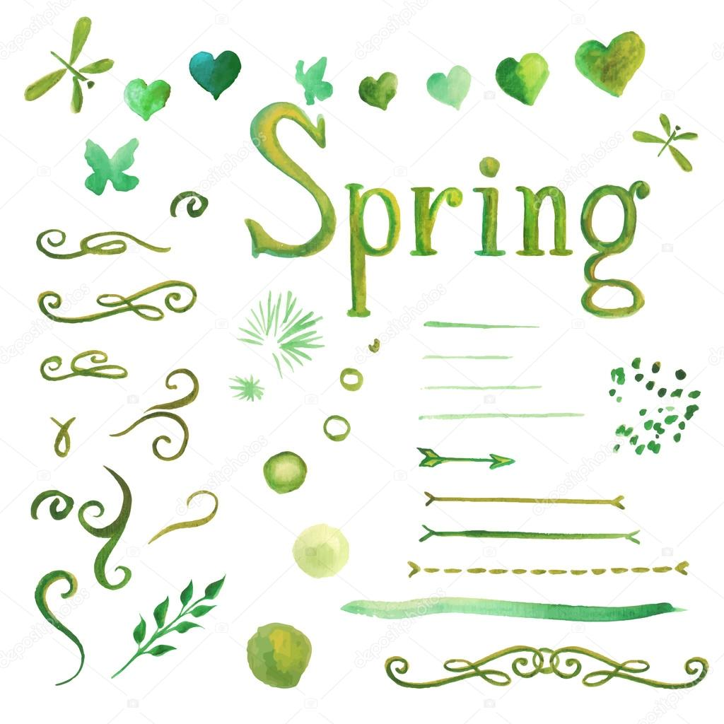 Set of watercolor spring elements