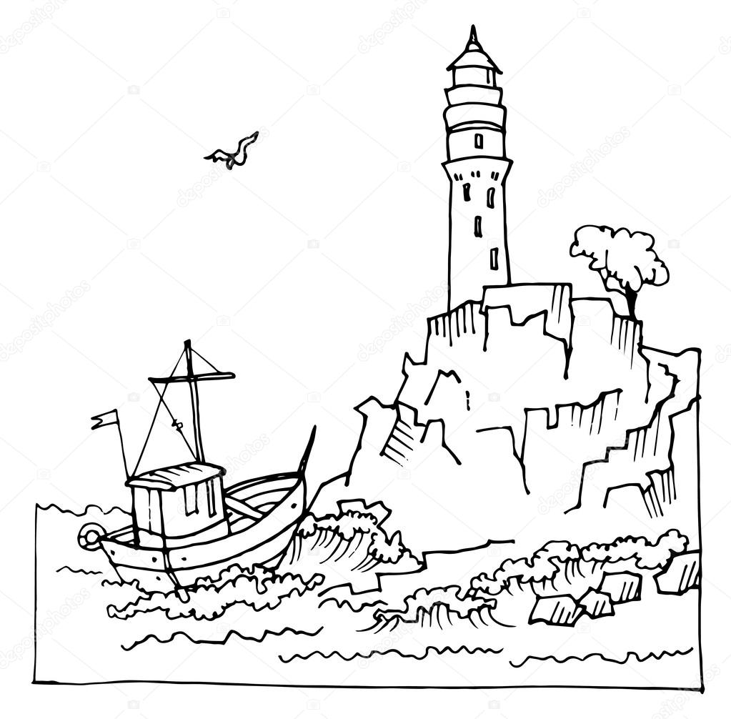 lighthouse on a cliff by the sea u2014 stock vector samui 71493419