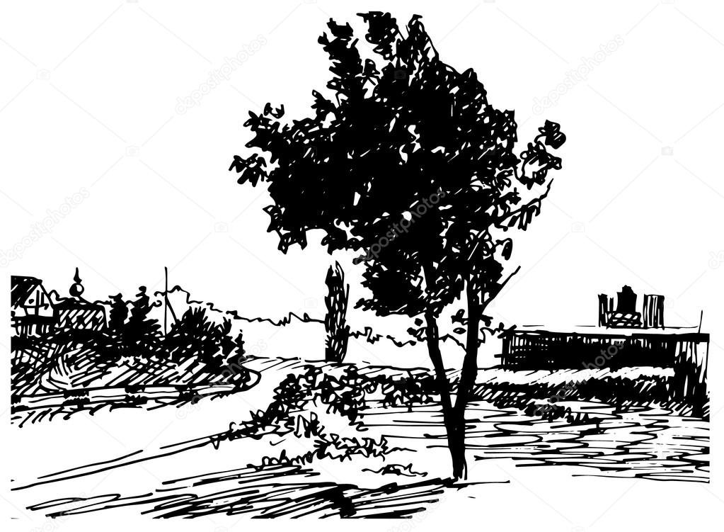 Art sketch of rural landscape