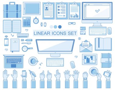 Vector linear workplace icons collection, flat style icons set of a top view, blue color.  Signs hand gestures. Workspace objects