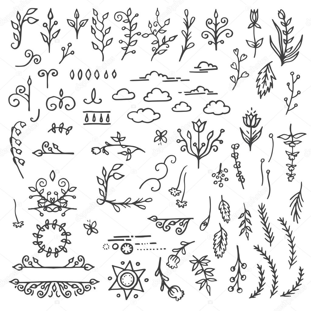 Set of Hand Drawn Black Doodle Design Elements. Decorative Floral Dividers, Arrows, Swirls, Scrolls. Vintage Vector