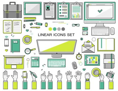 linear workplace icons collection, flat style  objects set of a top view.  Signs hand gestures. Workspace
