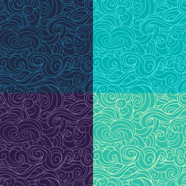 Blue, Emerald and Violet waving curls dark purple seamless patterns set vector.