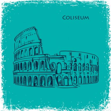 Rome building hand drawn vector illustration. Italian landmark Coliseum