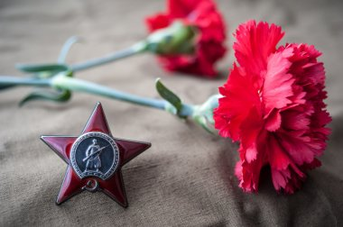 Order of the Red Star and two red carnations. Still life dedicated to Victory Day