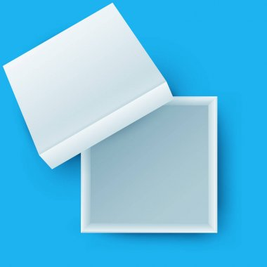 White open empty squares cardboard box isolated on color background. Mockup template for design products, package, branding, advertising. Top view. Vector illustration. icon