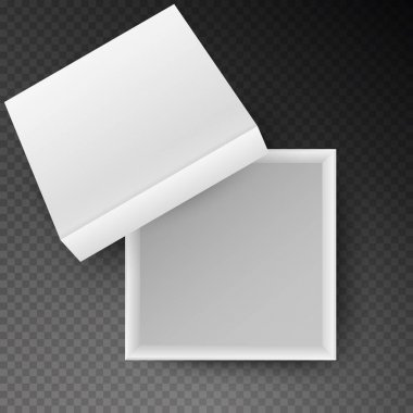 White open empty squares cardboard box isolated on transparent background. Mockup template for design products, package, branding, advertising. Top view. Vector illustration. icon