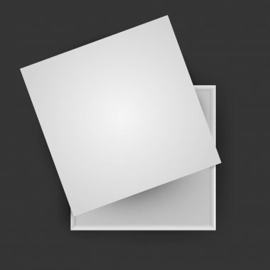 White open empty squares cardboard box isolated on black background. Mockup template for design products, package, branding, advertising. Top view. Vector illustration. icon
