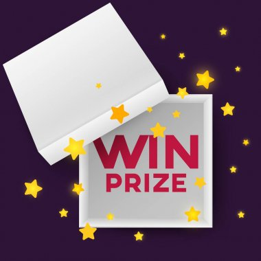 Open empty squares cardboard box with inscription win prize and stars on simple background. Mockup template for products, package, branding, advertising. Top view. Vector illustration. icon