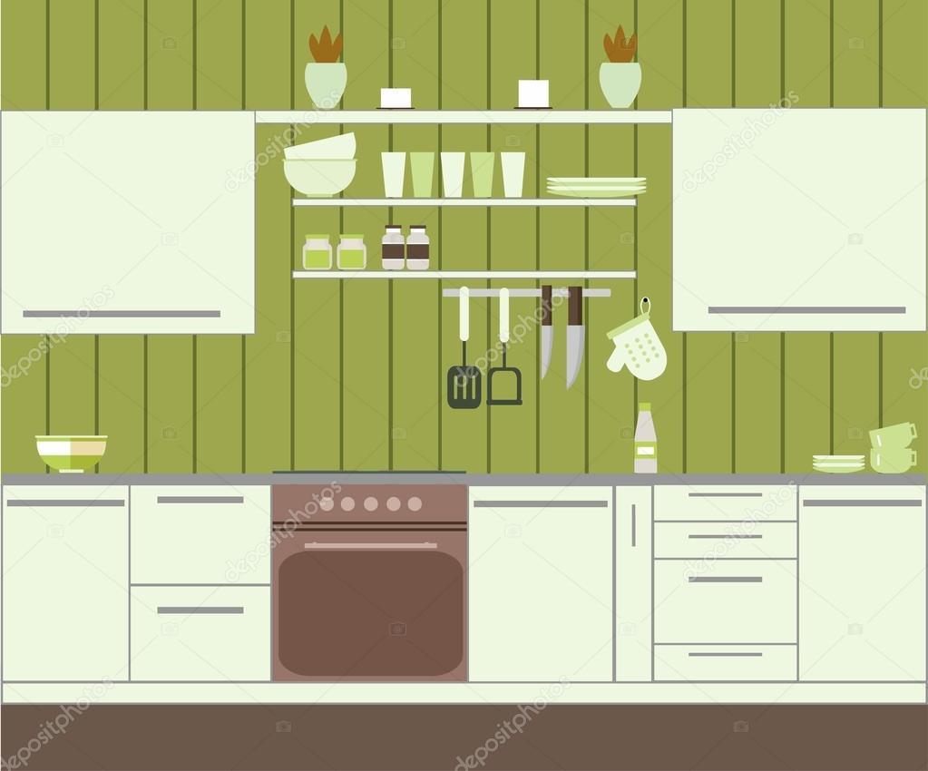 Cucina con parete verde — Vettoriali Stock © SunnyGirl94 #100343598
