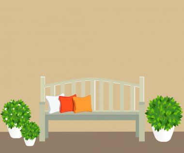 bench with flowerpots - vector image