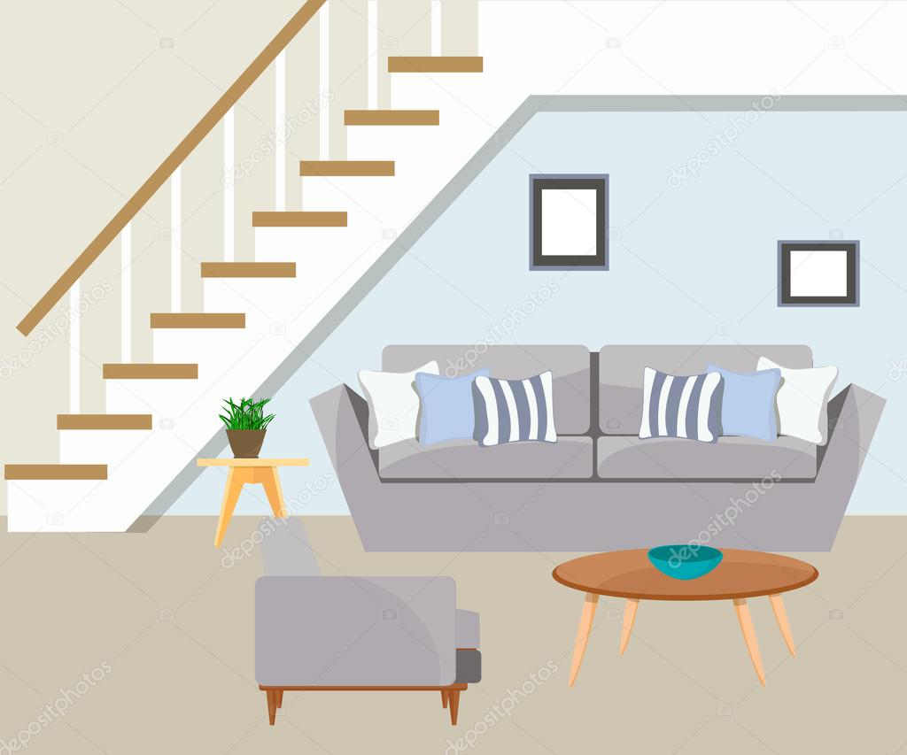 Furniture The Living Room With Stairs Stock Vector C Sunnygirl94