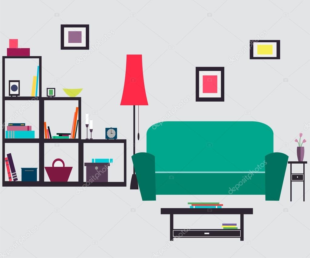 Living room. Furniture and Home Accessories — Stock Vector ...