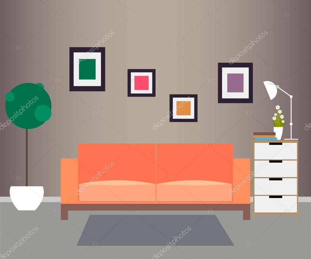 Woonkamer. Meubels en Home accessoires — Stockvector © SunnyGirl94 ...