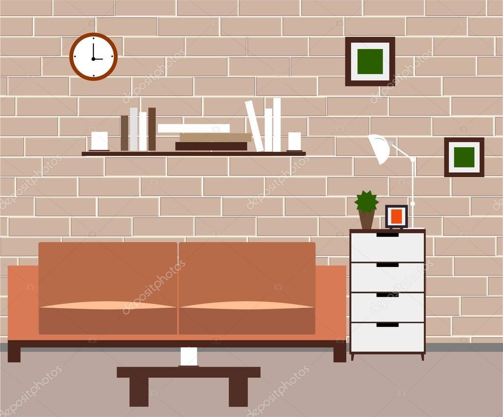 woonkamer meubels en home accessoires stockvector