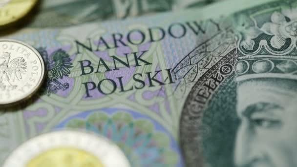 detail z různých současných polských papírových peněz a mincí