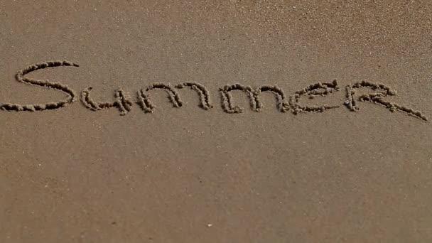 Summer word on sand seacoast