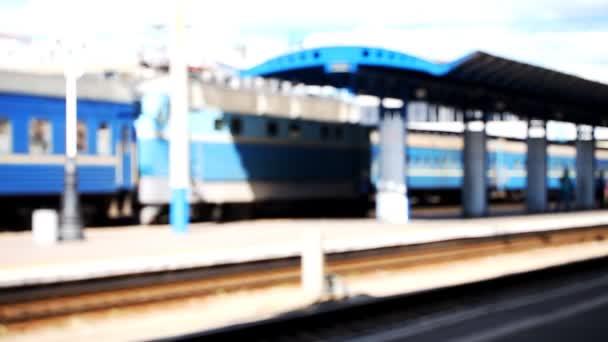 nádraží, vlak, rozmazané, doprava