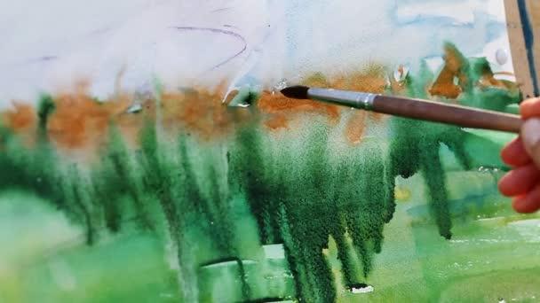 Aquarellmalerei in Nahaufnahme