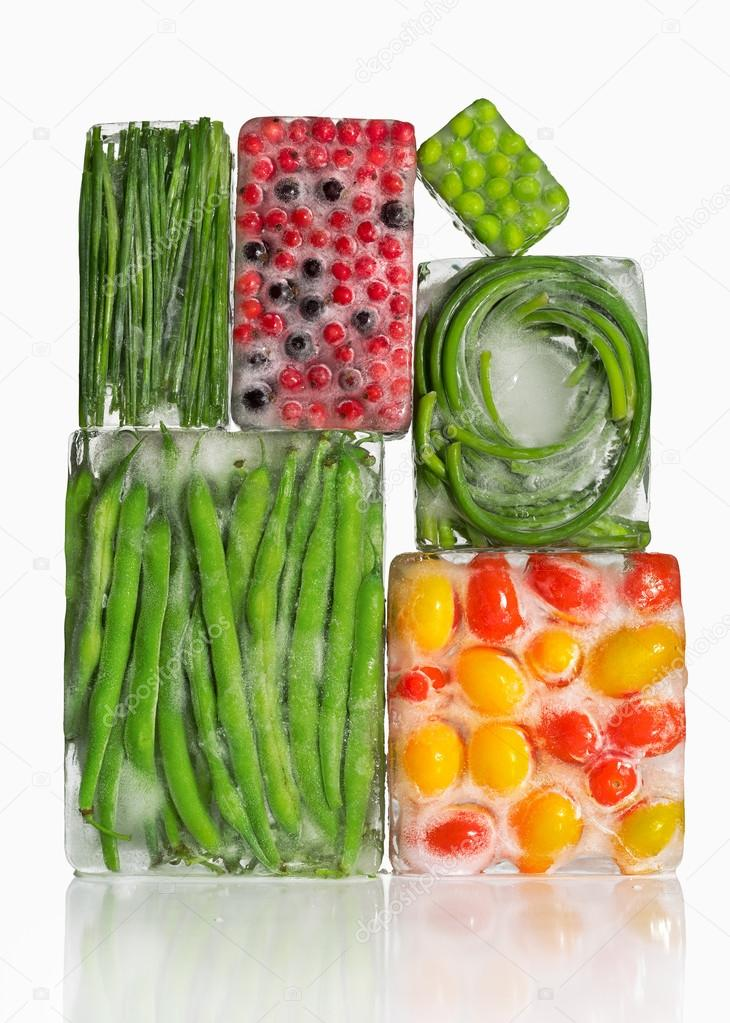 vegetables in ice cubes