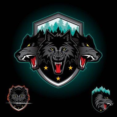 Wolf pack emblem logo icon