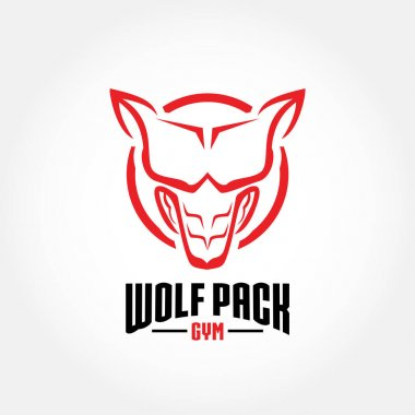 Wolf Pack Gym logo vector concept icon
