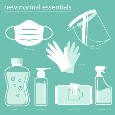 New Normal Essentials set vector icons for infographic, poster, deign elements, or any other purpose. icon