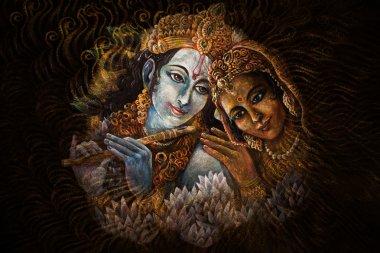radha and krishna playing flute, hand painted illustration