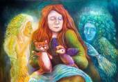 A woman story teller with puppets and protective spirits, fantasy imagination detailed colorful painting