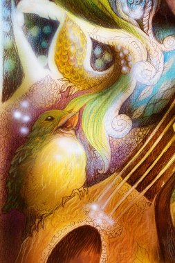 Detail of a bird singing a song of colorful ornaments on mandoline guitar
