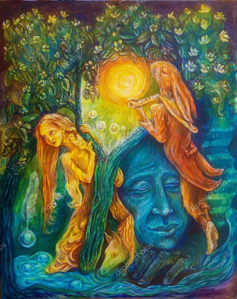 Golden fairy and a magic hare piper under an emerald tree