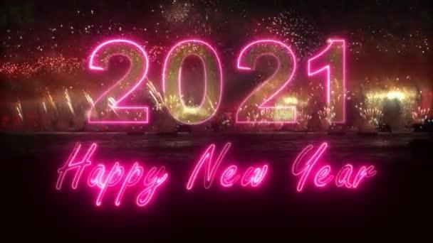 2021 Šťastný Nový rok barevné explodující ohňostroj. Šťastný nový rok2021. 3D znaky v ohňostroji. výbuch ohňostroje - zobrazit 4K video