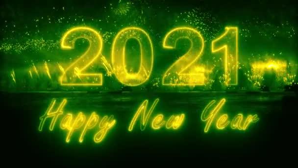 2021 boldog új évet színes robbanó tűzijáték. 2021 boldog új évet. 3D-s karakterek tűzijátékban. tűzijáték robbanás - mutasd 4K videó