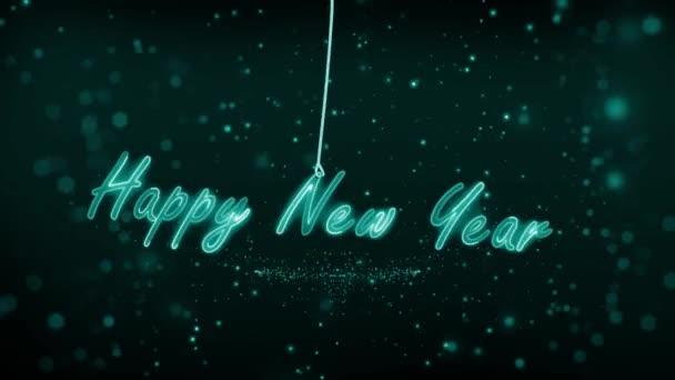 2021 új éve kötélen. lendíts a kötélen. Neon fényekkel. Részecskék hátul. Egy gyönyörű új év elmaradottja. 4K videó