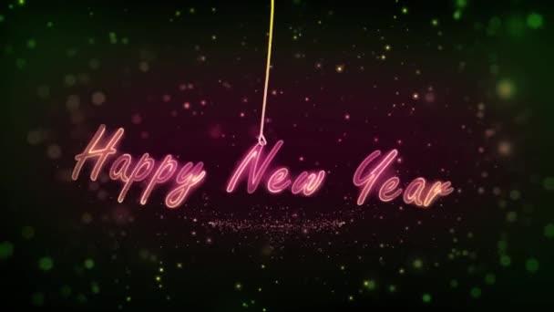 2021 Nový rok na laně. houpačka na laně. S neonovými světly. Částice vzadu. Nádherný novoroční backgorund. Video 4K