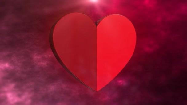 Gyönyörű háttér 3D-s szív. Valentin nap. Február 14. Repül a szív. A szerelmeseknek. Anyák napja. Születésnap. Esküvői klipekhez LOOP 4K videó