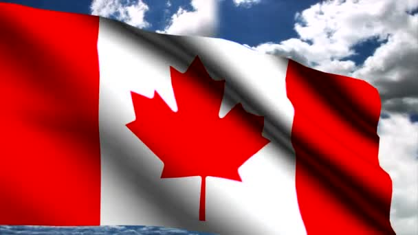 Kanadská vlajka ve větru