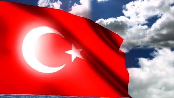 Turkish flag waving in wind