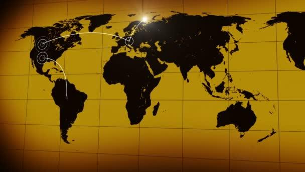 mapa světa s kabely