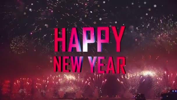 Frohes neues Zeichen und Feuerwerk Lichter